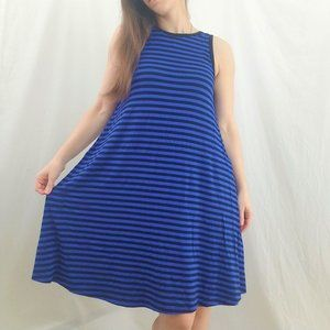 Old Navy Black and Blue Striped Midi Dress